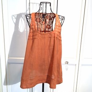 O'Neill Tank Top Rust Orange Semi Sheer Lace Back